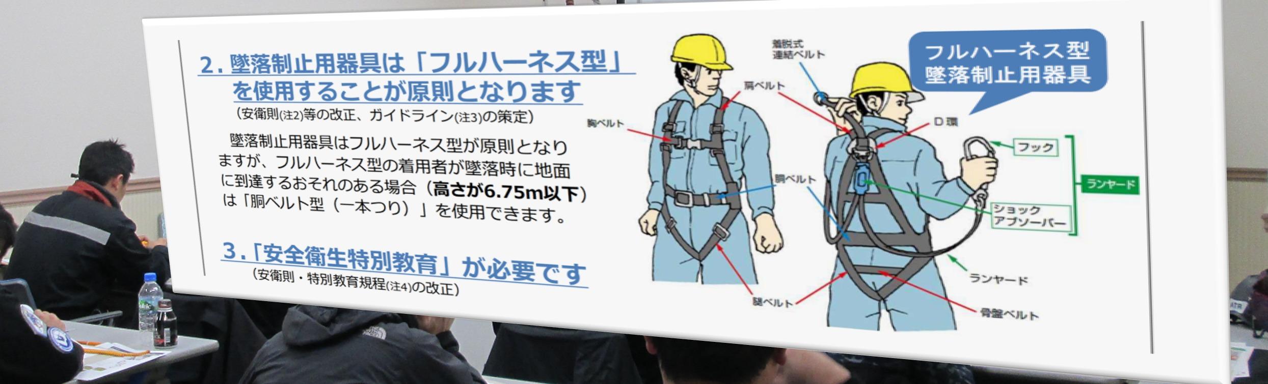 フルハーネス型墜落制止用器具に関する特別教育講習